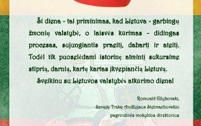 SU LIETUVOS VALSTYBĖS ATKŪRIMO DIENA – VASARIO 16-ĄJA!